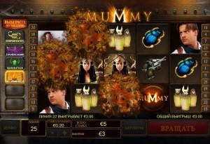 Видеослот The Mummy с активированной функцией Collapsing Reels (Разрушающиеся барабаны)