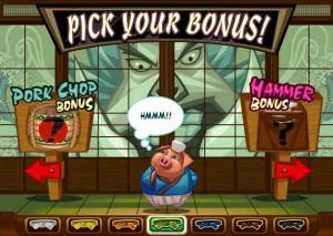 Spin Palace Casino :: Заставка выбора бонусной игры (Pick Your Bonus) в слоте Karate Pig