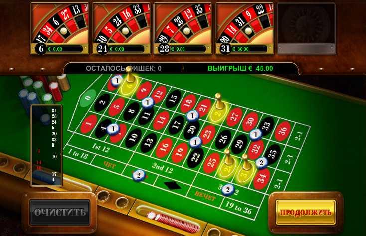 Reely Roulette :: Игровое поле рулетки во время бонусной игры Multiple Wheel Roulette при использовании 4-х рулеток