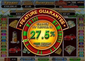 Видеослот Bulls & Bears :: Ручной запуск функции Feature Guarantee при шансах в 27.5%