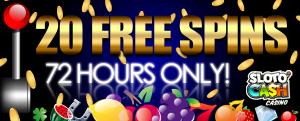 Получи 20 бесплатных спинов от SlotoCash Казино!