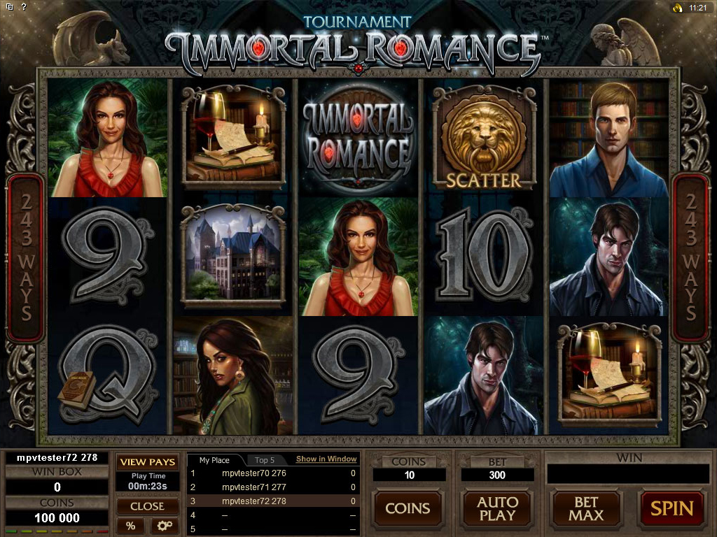 Golden Riviera Casino :: Бесплатный слот-турнир на игровом автомате Immortal Romance