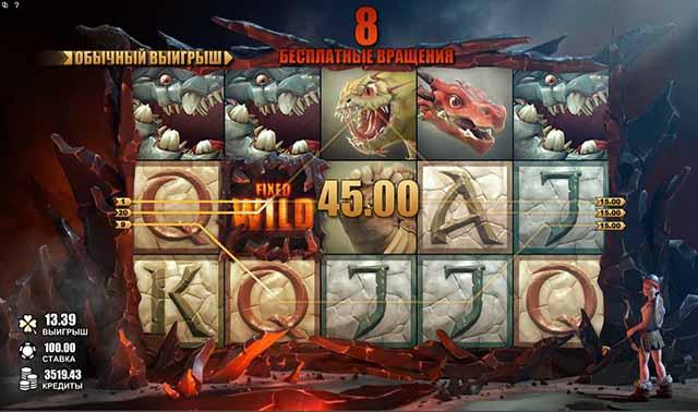"""CASINO-X :: Пример игрового автомата Dragon's Myth (""""Миф о драконах"""") во время бесплатных вращений с FIXED WILD на 2-ом барабане"""